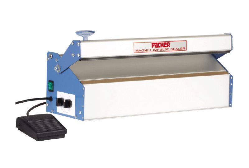 Magnet release impulse sealer with foot pedal